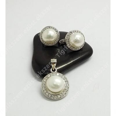 Ezüst szett gyöngy+cirkónia