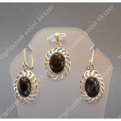 Ezüst fülbevaló+medál szett onix kővel