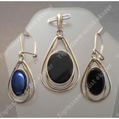 Ezüst fülbevaló+medál szett onix kővel,csepp forma ovális kővel.