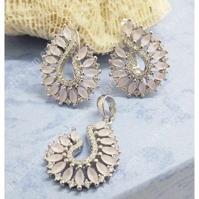 Ezüst füli+medál szett rózsakvarc