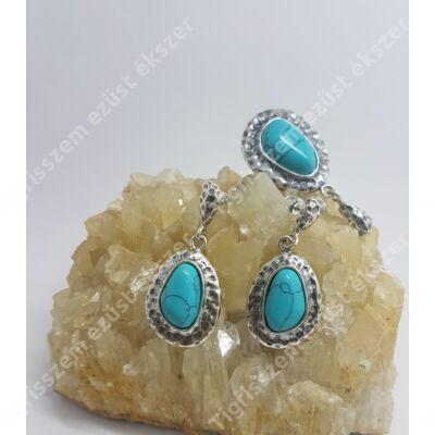 Ezüst szett,medál+fülbevaló TÜRKIZ kővel