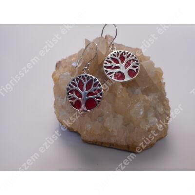 Ezüst fülbevaló korall kővel,életfa.