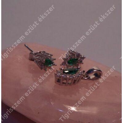 Ezüst medál és füli szett CIRKÓNIÁVAL,zöld