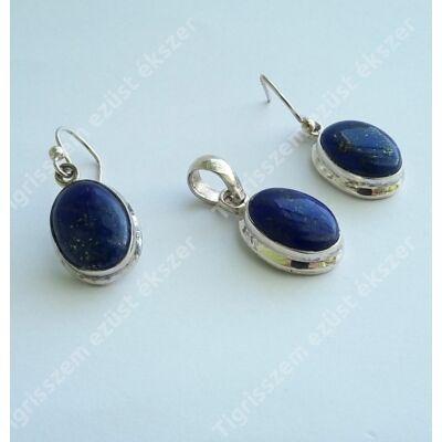 Ezüst  medál+fülbevaló szett lápisz lazulival