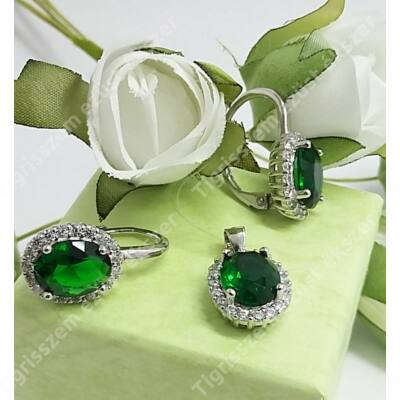 Ezüst cirkónia szett,zöld-fehér kövek