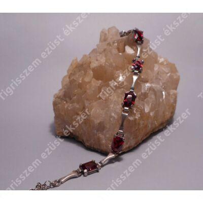 Ezüst karkötő GRÁNÁTTAL,szögletes kövek