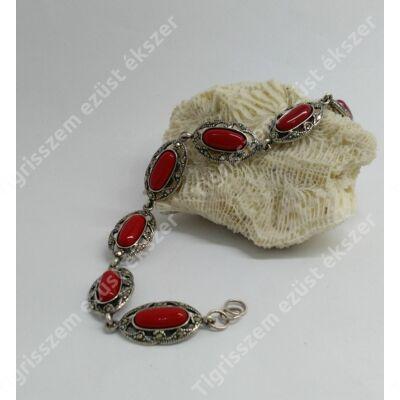 Ezüst karkötő/karlánc KORALL kővel