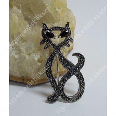 Ezüst kitűző MARKAZIT kövekkel ,cica