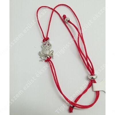 Ezüst karkötő piros zsinóros,béka