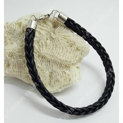 Ezüst+ bőr női- ffi(unisex) karkötő