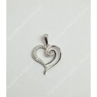 Ezüst medál,szív cirkónia kővel 1