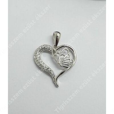 Ezüst medál,szív cirkónia kővel 2