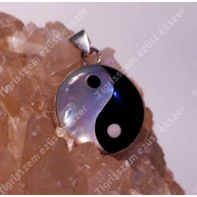 Ezüst medál gyöngyház Jin-Jang 14 mm