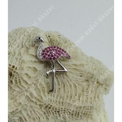 Ezüst flamingó medál cirkónia kövekkel
