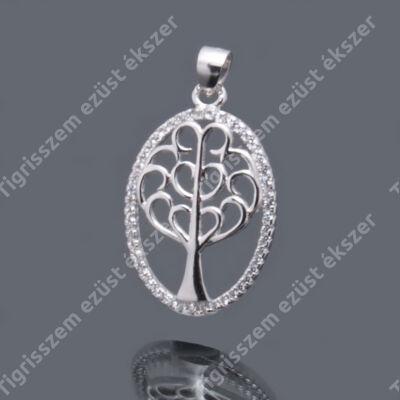 Ezüst cirkónia  medál életfa,ovális