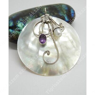 Ezüst medál gyöngyház  virággal+ametiszt+gyöngy