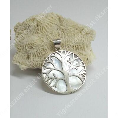 Ezüst  medál gyöngyházzal,életfa
