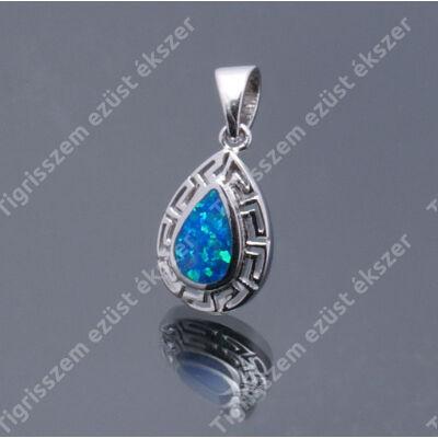 Ezüst medál kék opállal görög minta