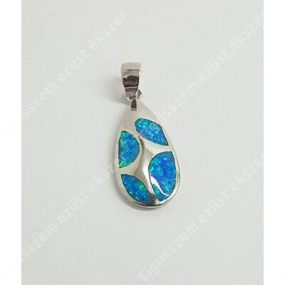 Ezüst medál kék opállal,csepp forma