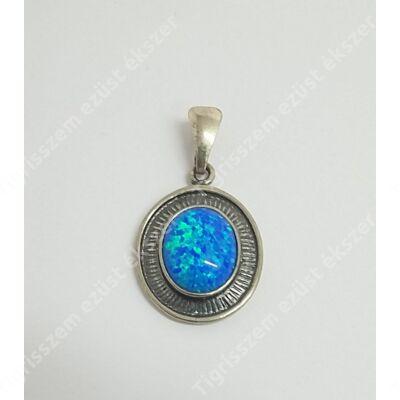 Ezüst medál kék opállal,antikolt