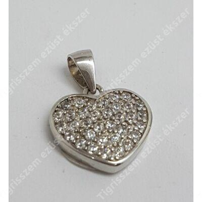 Ezüst medál fehér cirkóniával,kicsi szív